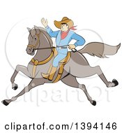 Clipart Of A Cartoon Cowboy Raising An Arm And Riding A Horse Royalty Free Vector Illustration