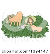 Clipart Of A Cartoon Happy Caucasian Couple In The Nude On Naked Gardening Day Royalty Free Illustration by djart