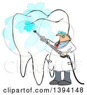 Clipart Of A Cartoon Chubby Caucasian Male Dentist Power Washing A Tooth Royalty Free Illustration by Dennis Cox