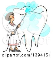 Cartoon Caucasian Female Dentist Power Washing A Tooth
