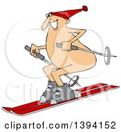 Clipart Of A Cartoon Happy Caucasian Guy Skiing Naked Royalty Free Vector Illustration by djart