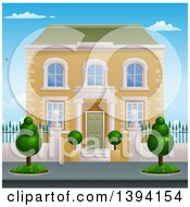 Clipart Of A Georgian Or Victorian House With Topiary Plants Royalty Free Vector Illustration