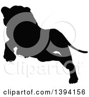 Clipart Of A Black Silhouetted Lioness Leaping Or Pouncing Royalty Free Vector Illustration by AtStockIllustration