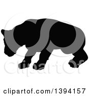 Clipart Of A Black Silhouetted Lioness Royalty Free Vector Illustration by AtStockIllustration
