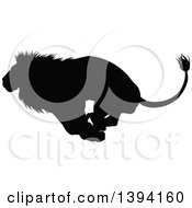 Clipart Of A Black Silhouetted Male Lion Running Royalty Free Vector Illustration by AtStockIllustration