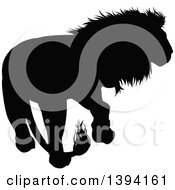 Clipart Of A Black Silhouetted Male Lion Walking Royalty Free Vector Illustration