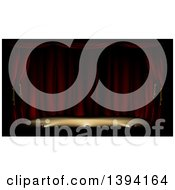 Clipart Of A Dark And Deserted Theater Stage With Red Curtains And Foot Lights Royalty Free Vector Illustration