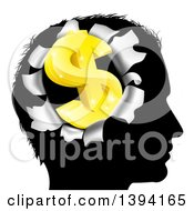 Black Silhouetted Mans Head With A 3d Gold Dollar Symbol Breaking Out Thinking About Money