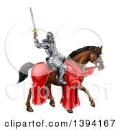 Clipart Of A 3d Full Armored Medieval Knight On A Brown Horse Holding Up A Sword Royalty Free Vector Illustration