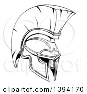Clipart Of A Black And White Lineart Spartan Or Trojan Helmet Royalty Free Vector Illustration
