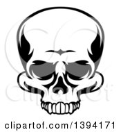 Clipart Of A Black And White Human Skull Missing The Mandible Royalty Free Vector Illustration