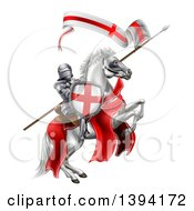 Clipart Of A Medieval Knight Saint George On A Rearing White Horse Royalty Free Vector Illustration by AtStockIllustration