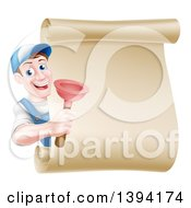 Clipart Of A Middle Aged Brunette White Male Plumber Wearing A Baseball Cap Holding A Plunger Around A Scroll Sign Royalty Free Vector Illustration