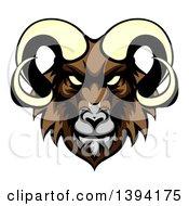 Cartoon Demonic Angry Ram Head Mascot