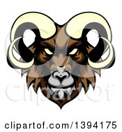 Clipart Of A Cartoon Demonic Angry Ram Head Mascot Royalty Free Vector Illustration by AtStockIllustration