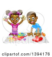 Clipart Of A Cartoon Happy Black Girl Painting With Her Hands And Boy Playing With A Toy Car Royalty Free Vector Illustration by AtStockIllustration