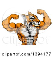 Clipart Of A Roaring Tough Tiger Man Flexing His Big Muscles Royalty Free Vector Illustration by AtStockIllustration