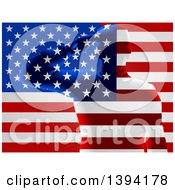 Clipart Of A Silhouetted Transparent Saluting Soldier Over An American Flag Royalty Free Vector Illustration by AtStockIllustration