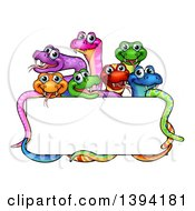 Clipart Of A Cartoon Group Of Colorful Happy Snakes Around A Blank Sign Royalty Free Vector Illustration