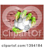 Clipart Of Monster Claws Holding A Soccer Ball And Breaking Through A Brick Wall Royalty Free Vector Illustration