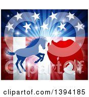 Clipart Of A Silhouetted Political Aggressive Democratic Donkey Or Horse And Republican Elephant Fighting Over American Stars And Stripes And A Burst Royalty Free Vector Illustration