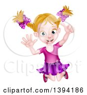Clipart Of A Happy Blond White Girl Jumping And Giving A Thumb Up Royalty Free Vector Illustration