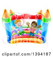 Cartoon Happy White And Black Boys Jumping On A Bouncy House Castle