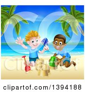 Happy White And Black Boys Playing And Making Sand Castles On A Tropical Beach