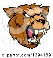 Clipart Of A Cartoon Roaring Grizzly Bear Mascot Head Royalty Free Vector Illustration