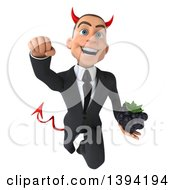 Clipart Of A 3d Young White Devil Businessman Holding A Blackberry On A White Background Royalty Free Illustration