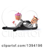 Clipart Of A 3d Young White Devil Businessman Holding A Cupcake On A White Background Royalty Free Illustration