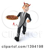 Clipart Of A 3d Young White Devil Businessman Holding A Pizza On A White Background Royalty Free Illustration