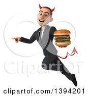 Clipart Of A 3d Young White Devil Businessman Holding A Double Cheeseburger On A White Background Royalty Free Illustration