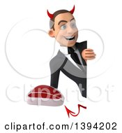Clipart Of A 3d Young White Devil Businessman Holding A Beef Steak On A White Background Royalty Free Illustration