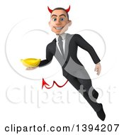 Clipart Of A 3d Young White Devil Businessman Holding A Banana On A White Background Royalty Free Illustration