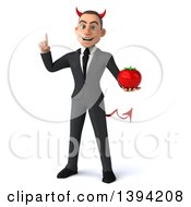 Clipart Of A 3d Young White Devil Businessman Holding A Tomato On A White Background Royalty Free Illustration