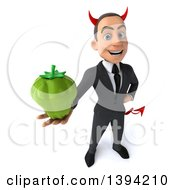 Clipart Of A 3d Young White Devil Businessman Holding A Green Bell Pepper On A White Background Royalty Free Illustration
