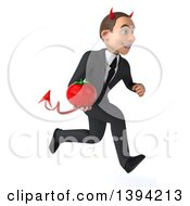 Clipart Of A 3d Young White Devil Business Man Holding A Tomato On A White Background Royalty Free Illustration