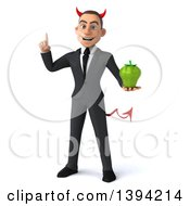 Clipart Of A 3d Young White Devil Business Man Holding A Green Bell Pepper On A White Background Royalty Free Illustration