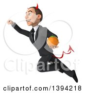 Clipart Of A 3d Young White Devil Businessman Holding An Orange On A White Background Royalty Free Illustration