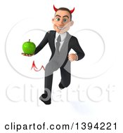 Clipart Of A 3d Young White Devil Businessman Holding A Green Apple On A White Background Royalty Free Illustration