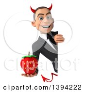 Clipart Of A 3d Young White Devil Businessman Holding A Strawberry On A White Background Royalty Free Illustration