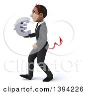 Clipart Of A 3d Young Black Devil Businessman Holding A Euro Symbol On A White Background Royalty Free Illustration