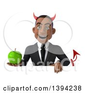 Clipart Of A 3d Young Black Devil Businessman Holding A Green Apple On A White Background Royalty Free Illustration