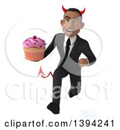 Clipart Of A 3d Young Black Devil Business Man Holding A Cupcake On A White Background Royalty Free Illustration