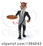 Clipart Of A 3d Young Black Devil Business Man Holding A Pizza On A White Background Royalty Free Illustration