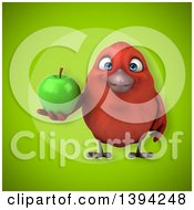Clipart Of A 3d Red Bird Holding A Green Apple On A Green Background Royalty Free Illustration