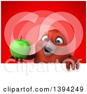 Clipart Of A 3d Red Bird Holding A Green Apple On A Red Background Royalty Free Illustration