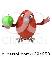 Clipart Of A 3d Red Bird Holding A Green Apple On A White Background Royalty Free Illustration