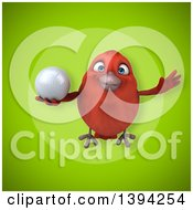 Clipart Of A 3d Red Bird Holding A Golf Ball On A Green Background Royalty Free Illustration